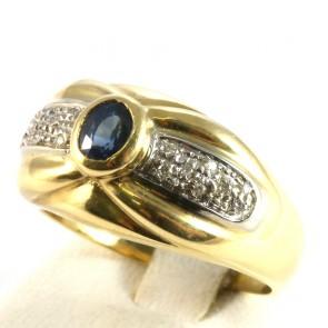 Anello fascia in oro con zaffiro -0.50-0.60 ct- e diamanti -0.18 ct; 7.7 gr
