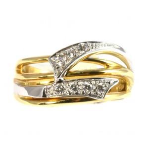 Anello fascia in oro e zirconi