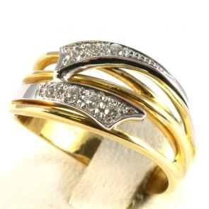 Anello fascia in oro e zirconi; 5.5 gr