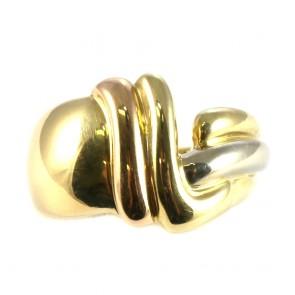 Anello fascia in oro tricolore vintage