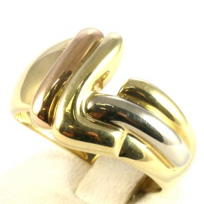 Anello fascia in oro tricolore vintage; 7.3 gr