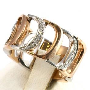 Anello fascia DAMIANI, collezione Damianissima, in oro bicolore e diamanti -0.17 ct; 12.6 gr