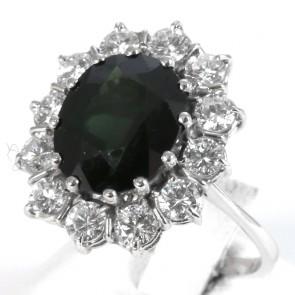 Anello in stile maxi margherita oro, zaffiro - 6-8 ct e diamanti - 2-2.2 ct; 8.3 gr