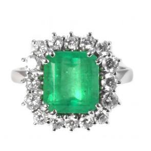 Anello maxi margherita, oro, smeraldo