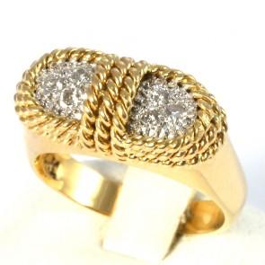 Anello fascia-ponte in oro effetto corda, con diamanti -0.40-0.45 ct; 5.7 gr