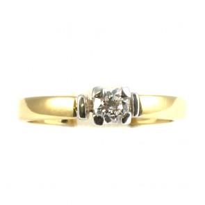 Anello solitario, oro bicolroe e diamante