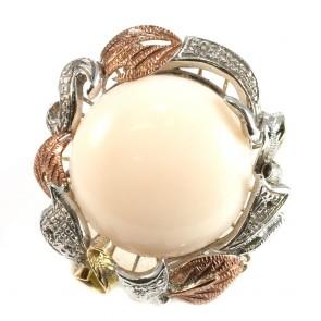 Anello maxi in stile corallo, oro, argento, diamanti