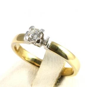 Anello solitario, oro bicolroe e diamante - 0.24-0.26 ct; 4.2 gr