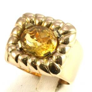 Anello maxi fascia in stile, oro scanalato, e quarzo citrino -12 gr