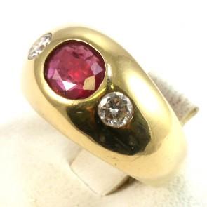 Anello maxi fascia in oro con rubino -1.10-1.20 ct- e diamanti -0.36-0.40 ct; 8.7 gr