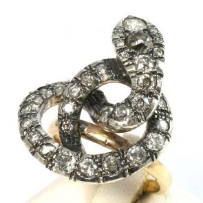 Anello maxi serpente, in stile, oro e diamanti - 3.30-3.50 ct-  9 gr