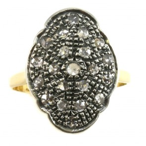 Anello toppa, in stile, oro e diamanti