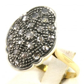 Anello toppa, in stile, oro e diamanti - 0.30-0.35 ct-  5.8 gr