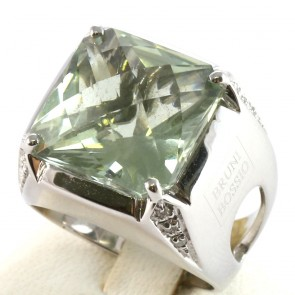 Anello maxi oro, quadro quarzo lemon e diamanti bianchi -0.12 ct; 10.3 gr.