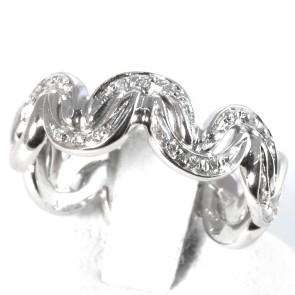 Anello eternelle ondulato oro con diamanti - 0.11 ct; 7.2 gr