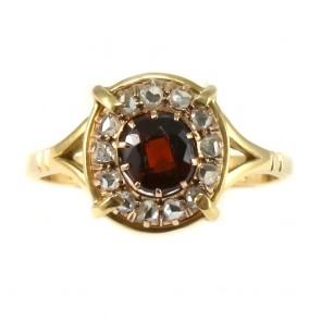 Anello margherita in stile oro, granato e diamanti