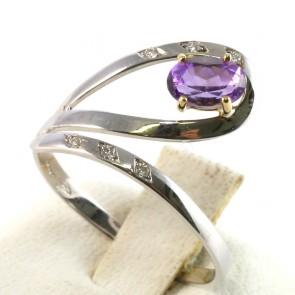 Anello contrariè oro, ametista e diamanti -0.03 ct; 1.9 gr