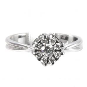 Anello fiore circolare oro con diamanti