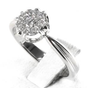Anello fiore circolare oro con diamanti - 0.35 ct; 3.7 gr