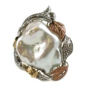 Anello maxi in stile perla barocca