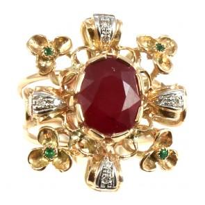 Anello maxi in stile, oro, rubino -3.8 ct- e diamanti