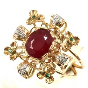 Anello maxi in stile, oro, rubino -3.8 ct- e diamanti - 0.19 ct; 7.2 gr