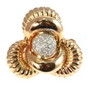 Anello maxi oro in stile con diamanti