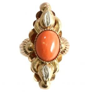 Anello maxi spola oro in stile con corallo e diamanti