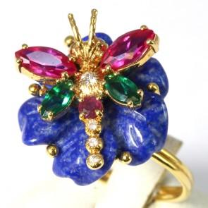 Anello maxi oro fiore lapis e libellula con pietre di sintesi colorate e diamanti - 0.10 ct; 7 gr