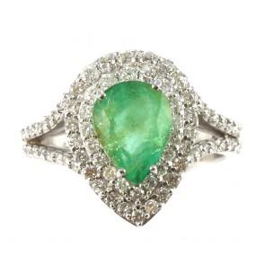 Anello goccia oro, smeraldo - 2.10 ct - e diamanti