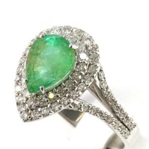 Anello goccia oro, smeraldo - 2.10 ct - e diamanti - 1.07 ct; 6.2 gr