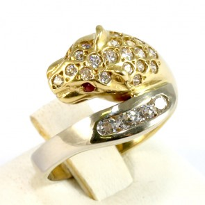 Anello pantera, oro bicolore e pietre di sintesi - 6,75 gr