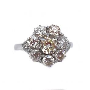 Anello margherita circolare, solitario taglio antico, oro e diamanti