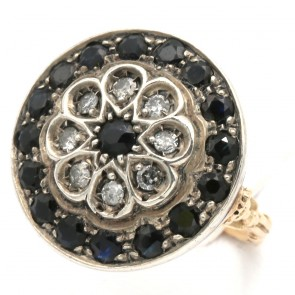 Anello toppa in stile circolare oro, zaffiri - 0.80-0.90 ct e diamanti - 0.25-0.30 ct; 6.11 gr