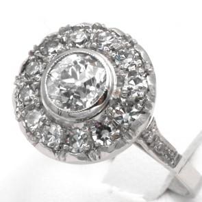 Anello solitario e margherita circolare in stile oro e diamanti - 1.20-1.40 ct; 3.66 gr