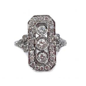 Anello in stile semaforo, oro e diamanti