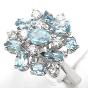 Anello fuoco d'artificio oro, acquamarina - 1.98 ct - e diamanti - 0.85 ct; 6.95 gr