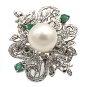 Anello maxi fiore oro, perla australiana bianca