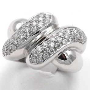 Anello maxi fascia doppia, oro e diamanti taglio brillante in doppio sormonto - 1.25 ct; 13.20 gr