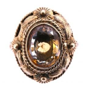 Anello ovale antico, argento vermeil e quarzo citrino