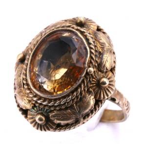 Anello ovale antico, argento vermeil e quarzo citrino; 5,78 gr