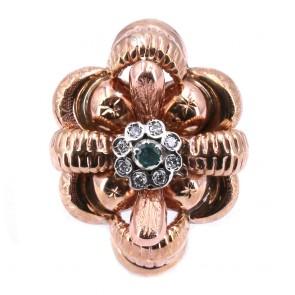 Anello maxi fiore oro in stile con margherita diamanti