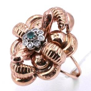 Anello maxi fiore oro in stile con margherita diamanti - 0.14 ct e mini smeraldo