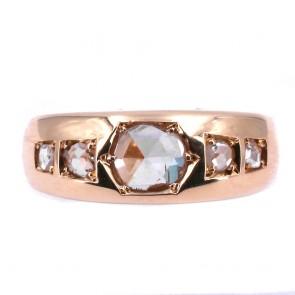Anello uomo vintage fascia in oro con diamanti