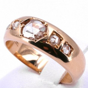Anello uomo vintage fascia in oro con diamanti -0.45-0.55 ct; 8.7 gr