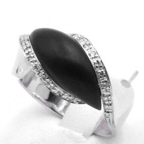 Anello onda oro, giaietto e diamanti - 0.26 ct; 8.53 gr