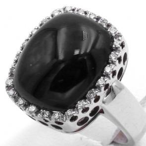 Anello rettangolo oro, onice e diamanti -0.24 ct; 12 gr