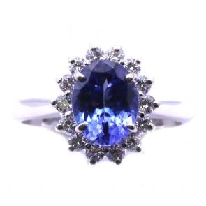 Anello margherita oro, tanzanite -1.93 ct- e diamanti