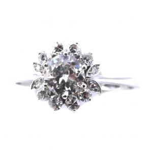 Anello fiore solitario oro e diamanti