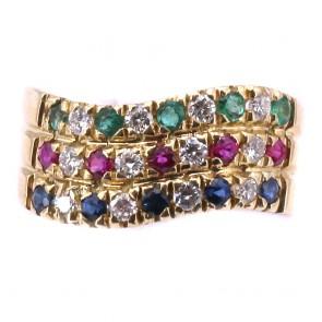Anello fascia tripla multicolor -zaffiri, smeraldi, rubini
